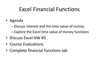 Excel Financial Functions