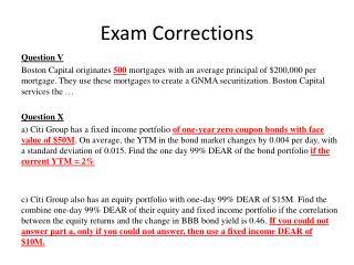 Exam Corrections