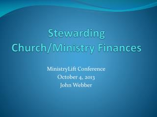 Stewarding Church/Ministry Finances