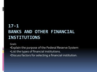 17-1 Banks and Other Financial Institutions