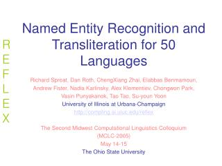Reflex: named entity recognition and transliteration for 50 ...