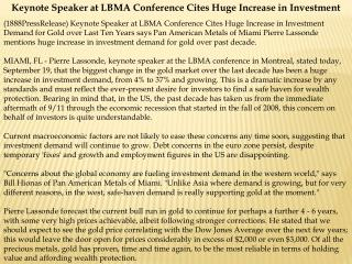 keynote speaker at lbma conference cites huge increase in in
