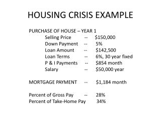 HOUSING CRISIS EXAMPLE