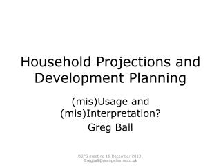 Household Projections and Development Planning