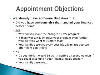 Appointment Objections