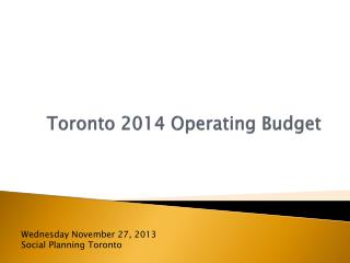 Toronto 2014 Operating Budget