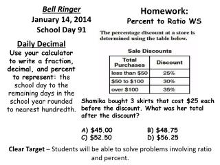 Bell Ringer  January  14 ,  2014 School Day  91