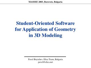 student-oriented software for application of geometry in 3d modeling