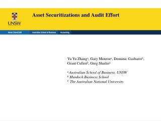 Asset Securitizations and Audit Effort