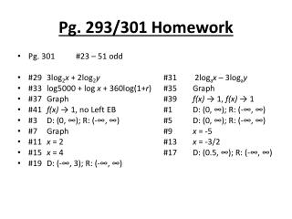Pg. 293/301 Homework