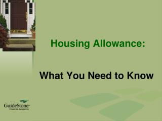 Housing Allowance: