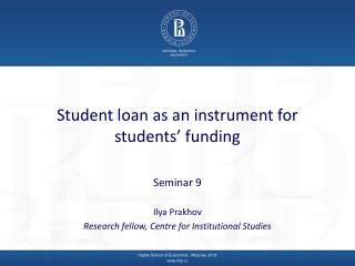 Student loan as an instrument for students' funding