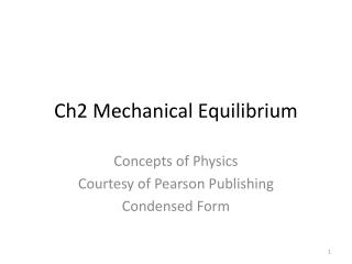 Ch2 Mechanical Equilibrium