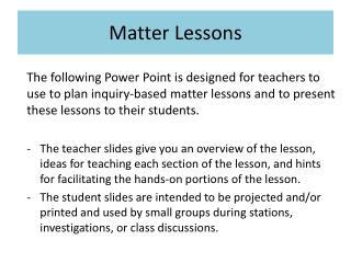 Matter Lessons