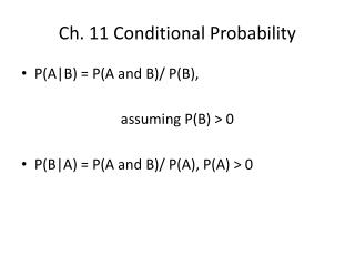 Ch. 11 Conditional Probability