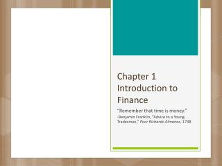 Chapter 1 Introduction to Finance