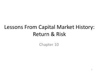 Lessons From Capital Market History: Return & Risk