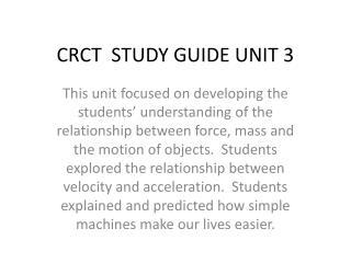 CRCT  STUDY GUIDE UNIT 3