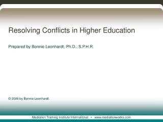 resolving conflicts in higher education