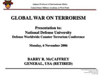 global war on terrorism presentation to: national defense ...