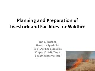 Planning and Preparation of Livestock and Facilities for Wildfire