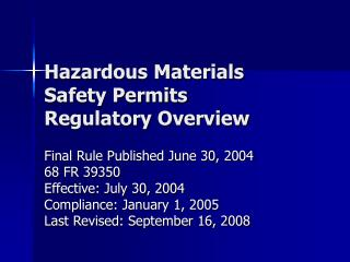 hazardous materials safety permits regulatory overview