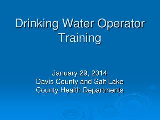 Drinking Water Operator Training