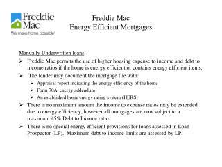 Freddie Mac Energy Efficient Mortgages