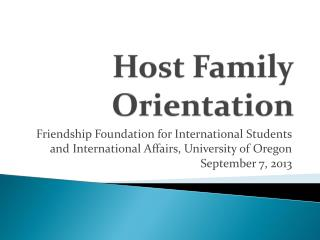 Host Family Orientation