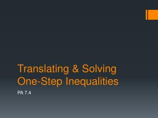 Translating & Solving One-Step Inequalities
