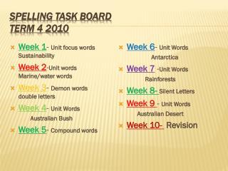 Spelling Task Board Term 4 2010