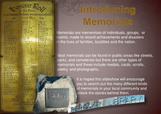 Introducing Memorials