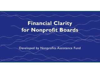 Financial Clarity for Nonprofit Boards
