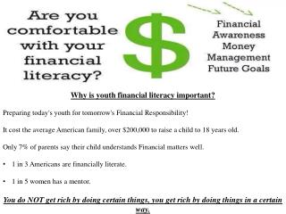 Why is youth financial literacy important? Preparing today's youth for tomorrow's Financial Responsibility!