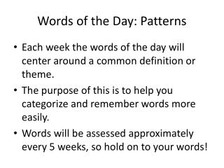 Words of the Day: Patterns