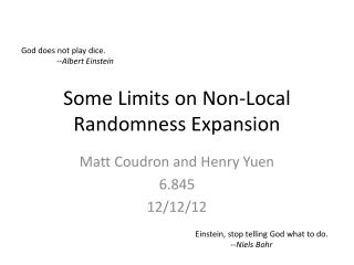 Some Limits on Non-Local Randomness Expansion