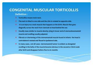 CONGENITAL MUSCULAR TORTICOLLIS