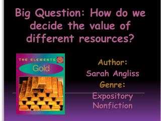 Author : Sarah  Angliss Genre :  Expository Nonfiction