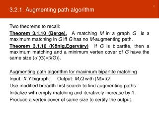 3.2.1. Augmenting path algorithm