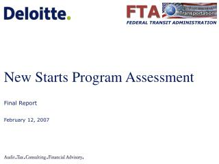 new starts program assessment final report