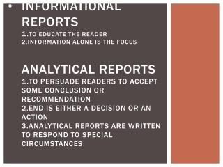 Examples o informational reports