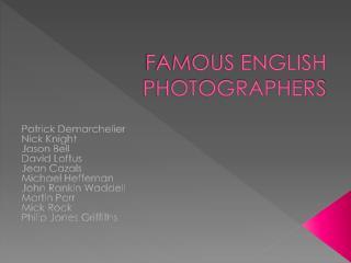 FAMOUS ENGLISH PHOTOGRAPHERS