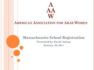 A AA W American Association for Arab Women