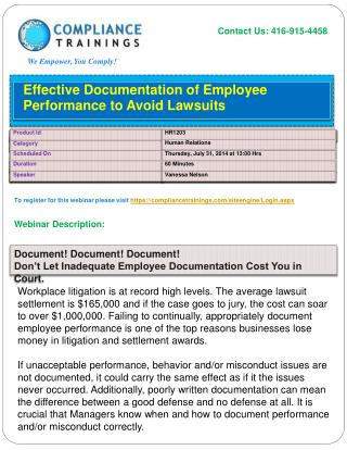 Webinar On Effective Documentation of Employee Performance t