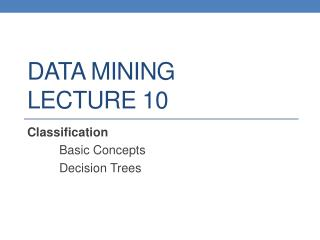 DATA MINING LECTURE  10