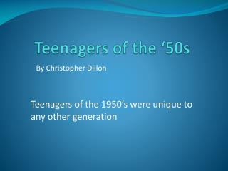 Teenagers of the '50s