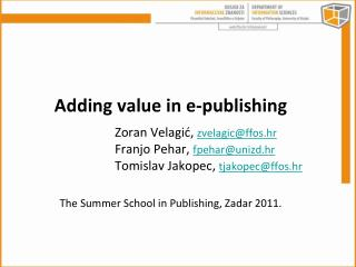 Adding value in e-publishing