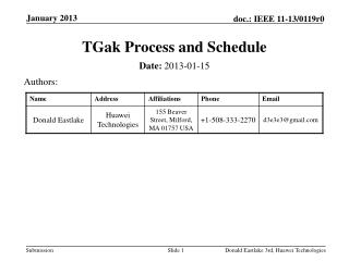 TGak  Process and Schedule