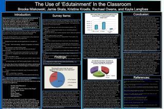 The Use of 'Edutainment' In the Classroom Brooke Miskowski, Jamie Skala, Kristine Kroells, Rachael Owens, and Kayla  La