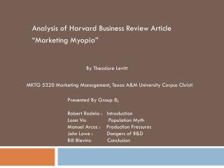 "Analysis of Harvard Business Review Article  ""Marketing Myopia"""